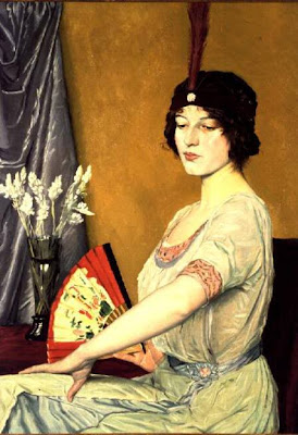 Japonisme. Paintings of Beautiful Women. William Strang. Japanese Fan