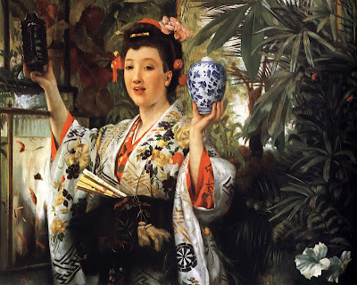 Japonisme. Paintings of Beautiful Women. James Tissot. Young Lady Holding Japanese Objects