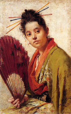 Japonisme. Paintings of Beautiful Women. Roberto Fontano. A Young Girl Holding a Fan