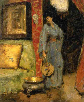 Japonisme. Paintings of Beautiful Women. William Merritt Chase. Woman in Kimono Holding a Japanese Fan