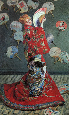 Japonisme. Paintings of Beautiful Women. Claude Monet. Madame Monet in Japanese Costume (La Japonaise).