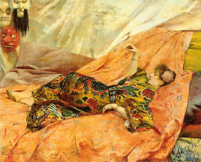 Japonisme. Paintings of Beautiful Women. Georges Antoine Rochegrosse. A Portrait of Sarah Bernhardt
