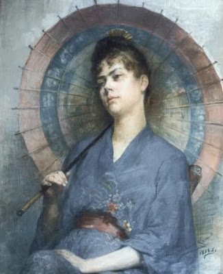 Japonisme. Paintings of Beautiful Women. Anna Bilinska-Bohdanowiczowa. Woman with a Japanese Parasol