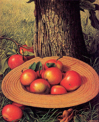 Levi Wells Prentice. American Still Life Artist. Apples, Hat, and Tree, 1898