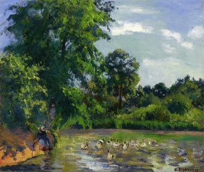 Camille Pisarro. Ducks on the Pond at Montfoucault, 1874