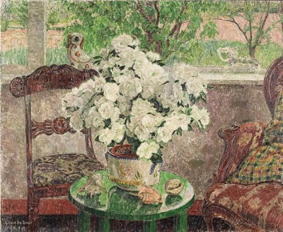 Leon De Smet. Interior with White Azalea