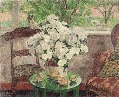 Leon De Smet. Interior with White Azalea