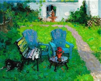 Painting by Zhang Jing Sheng. Friend's Backyard