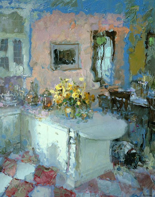 Painting by Zhang Jing Sheng. An Interior Scene with Yellow Roses