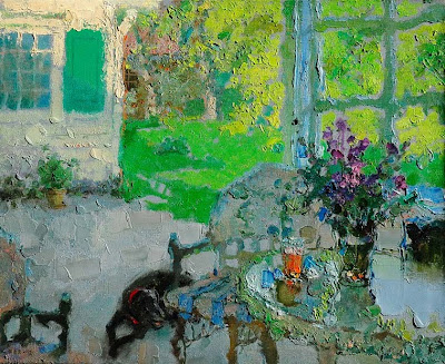 Impressionist Paintings by Zhang Jing Sheng. Sunshine over My Backyard