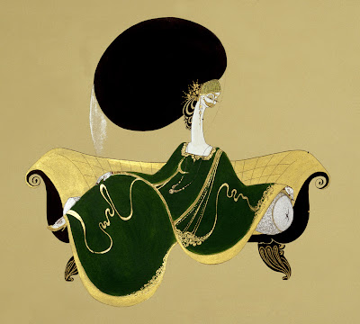 Painting by Hayv Kahraman. Green Dress on Sofa