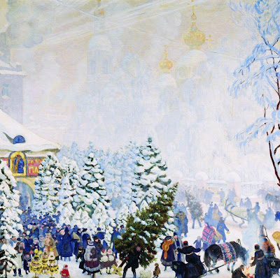 Boris Kustodiev. Selling Christmas Tree