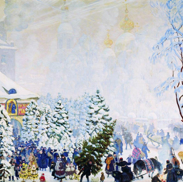 Boris Kustodiev. Selling Christmas Tree, Christmas in painting