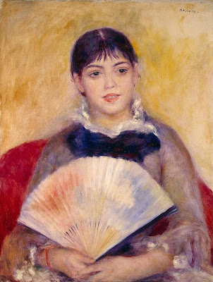 Girl with a Fan by Pierre August Renoir