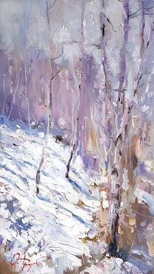 Paintings by Russin Artist Oleg Trofimov. Birch Trees