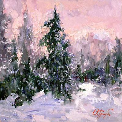 Painting by Russin Artist Oleg Trofimov. Winter Sun