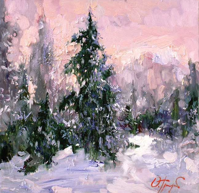winter painting by oleg trofimoff  russin artist
