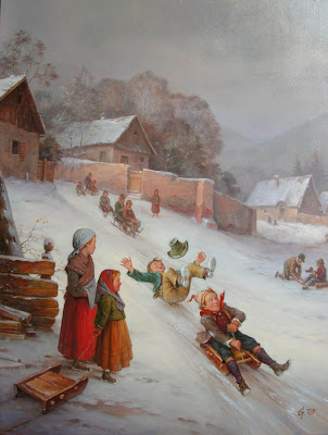 Winter Painting by Gabor Toth, Hungarian Artist