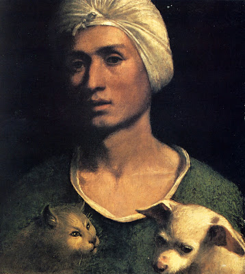 Dosso Dossi. Portrait of a Young Man With a Dog and a Cat