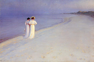 Seascape Painting by Peder Severin Kroyer. Summer Evening on the Skagen Southern Beach with Anna Ancher and Marie Kroyer