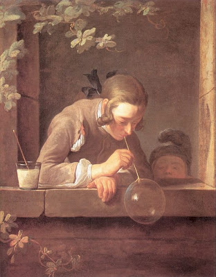 Jean-Baptiste-Simeon Chardin French Artist Blowing Bubbles in Painting
