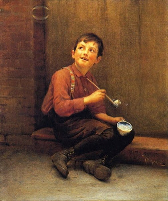 Blowing Bubbles in Painting Karl Witkowski American Artist