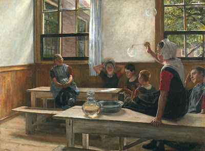 Charles Frederic Ulrich Blowing Bubbles in Painting