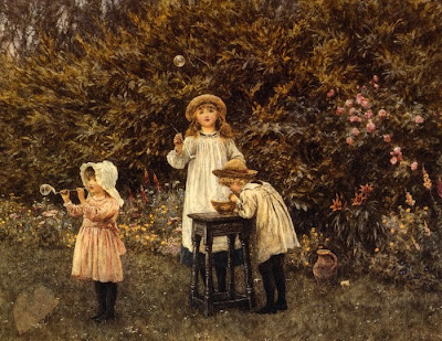 Helen Allingham Bubbles in Painting