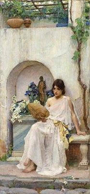 Fan in Painting John William Waterhouse, Flora