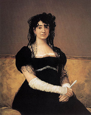 Fan in Painting Francisco de Goya. Portrait of Antonia Zárate