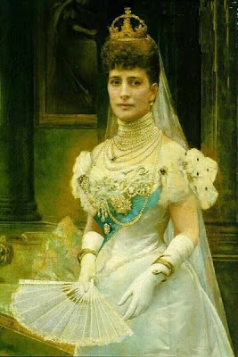 Fan in Painting Alexandra, Princess of Gals nee Princess of Denmark