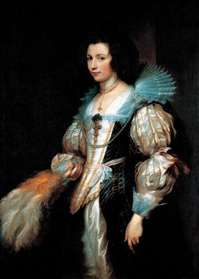 Fan in Painting Anthony van Dyck Portrait of Maria de Tassis