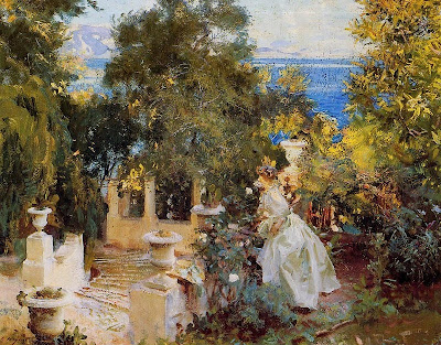Ladies in the Garden in Painting A Garden in Corfu by John Singer Sargent