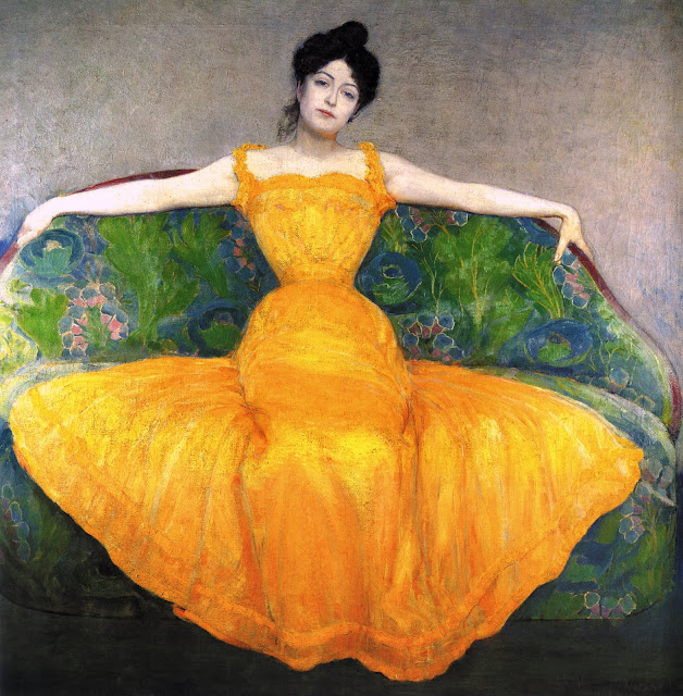 Painting by Austrian artist Max Kurzweil. Woman in a Yellow Dress 1899