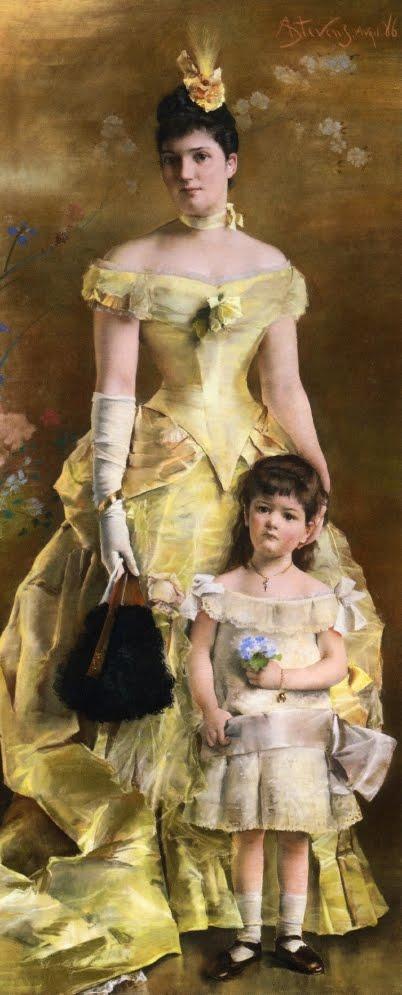 Oil Portrait by Belgian painter Alfred Stevens. La Baronne de Bonhome