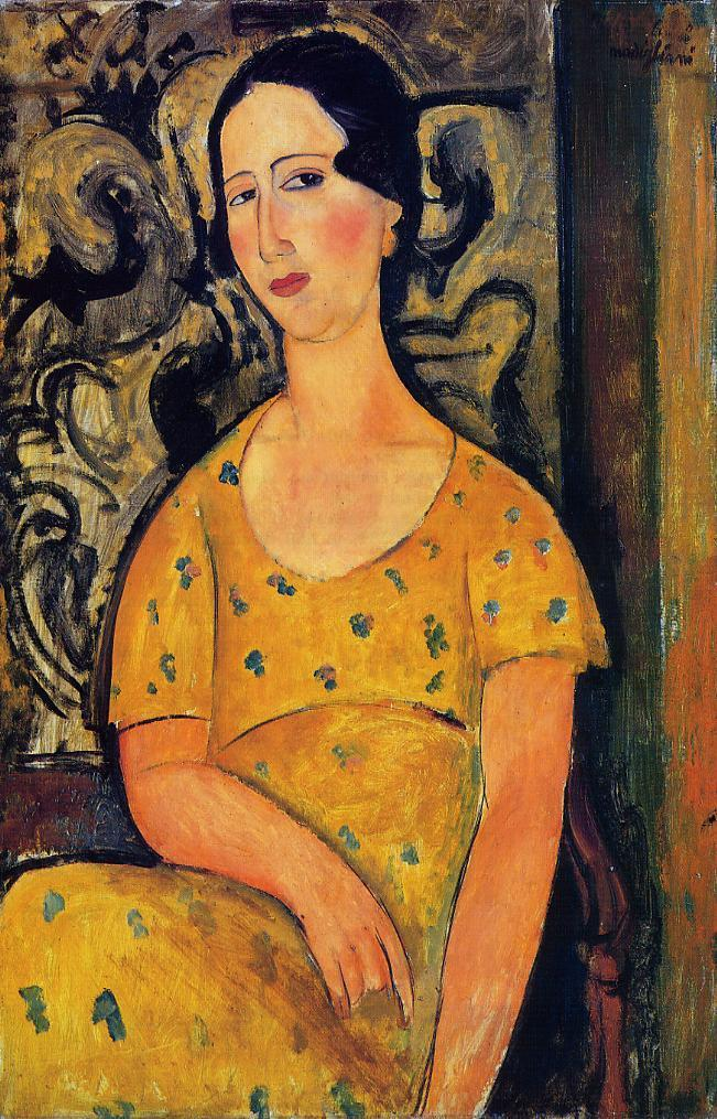 Painting girl in a yellow dress
