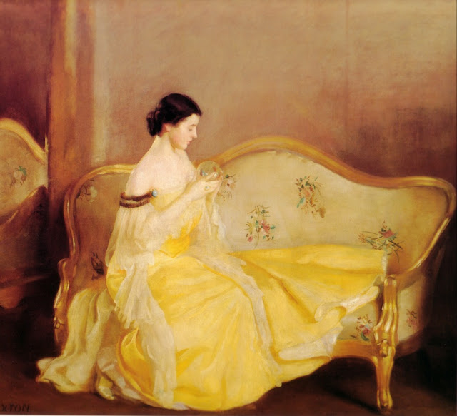 Oil Painting American Painter William McGregor Paxton. The Chrystal