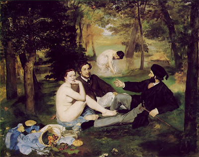 Oil painting by Edouard Manet The Luncheon on the Grass 1862-63