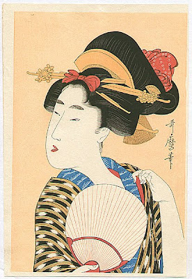 Utamaro Kitagawa Japanese Ukiyo-e Prints Ladies with Fan