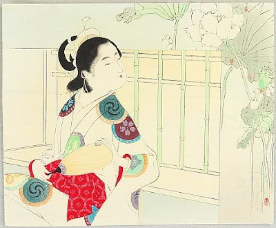 Toshikata Mizuno Japanese Ukiyo-e Prints Ladies with Fan