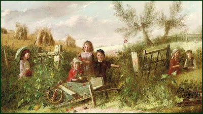 Children in Painting by Charles Hunt British Artist
