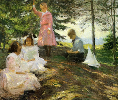 Children in Painting by American Impressionist Painter Frank W. Benson