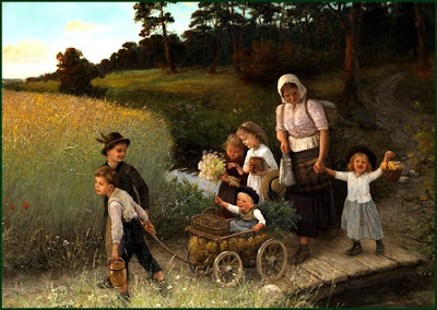 Children in Painting by German Artist Carl von Bergen
