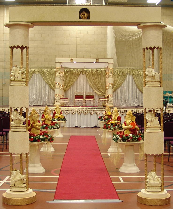 Carpet flooring for Ganpati stage decoration