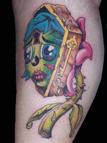 zombie girl tattoo. Zombie Coffin Flower Girl