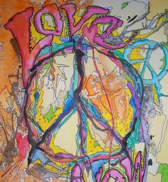 just give me peace love now singleton hippie art
