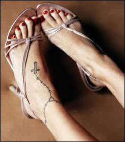 Rosary Tattoo Designs especially Female Rosary Foot Tattoo