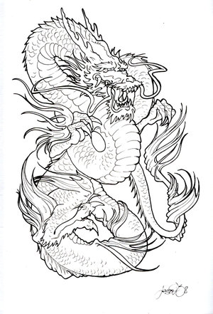 Royalty-free fantasy clipart picture of a black tall dragon tattoo design,