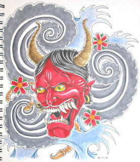 Japanese Hannya Mask Tattoo Design 2