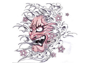 Japanese Hannya Mask Tattoo Design 1